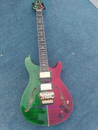 Descuento guitarras llama roja Mahogny más vendido con la tapa del arce flameada H-S-H la guitarra eléctrica roja y la guitarra verde floyed el tremolo color de rosa de la fábrica de China directa
