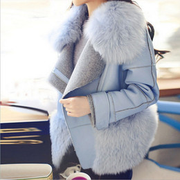 European and American Winter Short Coats for Women 2015 Woman Woolen Fox Fur Collar Jacket Coats Slim Thick Faux Fur Coats for Women