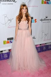 Wholesale Princess Light Pink Tulle Celebrity Dresses Inspired By Bella Thorne Red Carpet Dress Sweetheart Prom Evening Gown With Beaded Belt