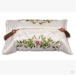 Wholesale New Nice Satin Tissue Box Cover Bath Bedroom Home Decor Handmade Tassel Silk Fabric Tissue Box Cover