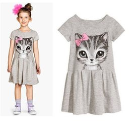 New Arrival Grey Girl One-piece Dress Summer Short Sleeve Cotton Children's Dresses Cat 2-5year Baby Girls Clothes 4pcs lot