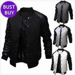Wholesale New Arrival Black Jacket Men Spring Fashion Mens Single Breasted Pu Leather Patchwork Baseball Jacket Brand Gray Jackets