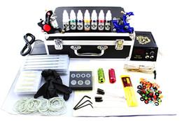 2015 lastest Professional tattoo guns kits complete 2 tattoo machine gun black power supply 7color inks 2grip 50needles pedal alloy box