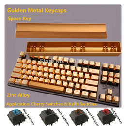 Wholesale-Brand New Metal Keycap Golden Space Key For Cherry MX Black Blue Brown Red Switches Mechanical Gaming Keyboard