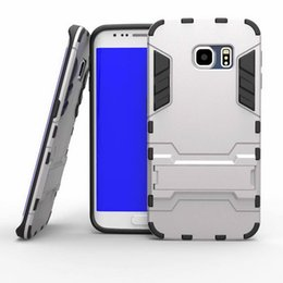 Wholesale 2015 New Arrival PC TPU Iron Man Hybrid in Dual Color Hard Case For Samsung Galaxy S6 S6 edge iphone plus Chrome Gel Stand Skin Cover