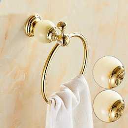 Wholesale And Retail Free Shipping Euro Golden Brass Bathroom Towel Ring Holder Round Towel Rack Holder Marble Towel Rack Bar