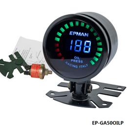 Wholesale TANSKY New Epman Racing quot mm Smoked Digital Color Analog LED Psi Bar Oil Press Pressure Meter Gauge With Sensor EP GA50OILP