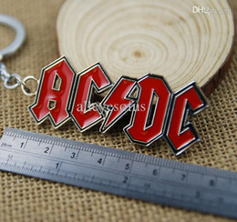 Wholesale Band AC DC Logo Toy Keychain Metal Key Chain Pendant Keyring Key Ring For Man s Boys T164
