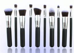 Promotion libre pc Professional 10 PCS Cosmetic Facial Maquillage Brush Outils Laine Pinceaux Set Kit avec l'emballage de détail livraison gratuite