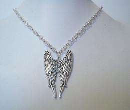 Chaîne grand sac en Ligne-Hot! * DOUBLE grandes ailes d'ange * Charm Collier SP 18quot; chaîne sac cadeau tatouage d'aigle (Za54)