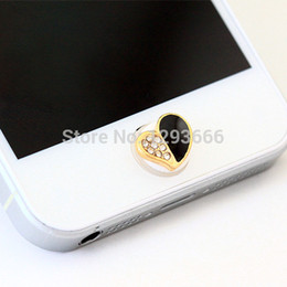 Wholesale-NO.97 1pcs home button sticker for iphone 6 4s 5 5s iPad,diamond cartoon sticker pearl rhinestone phone decoration accessory