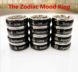 Free shipping 50pcs Free Size the Zodiac Mood Ring Changes Color to Your Temperature Reveal Your Inner Emotion Lovers Ring