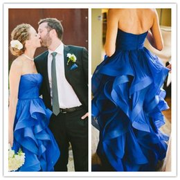 Royal Blue Ruffles Wedding Dresses 2016 Sweetheart High Low Ruched A line Bridal Dress Custom made Wedding Party Dress