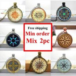 Wholesale-Wholesale Glass Dome Necklace Vintage Compass Necklace Steampunk Compass pendant Round Glass Necklace