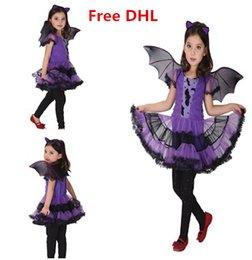 Wholesale Free DHL Girls Halloween Costume Princess Tutu Dress Bat Wings Bat Hairband Set Kids Performance Cosplay Clothes Girls Costume