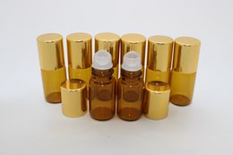 50 pcs 3ML Glass Roll On Bottles, Cobalt Brown Glass with Golden Cap , roll-on bottle