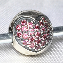 Authentic 925 Sterling Silver Pink Pave Heart Clip charm Bead with Cubic Zirconia Fits European Pandora Jewelry Bracelets & Necklaces