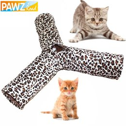 Wholesale Pet Play Tunnel Cat Tunnel Leopard Print Crinkly Ways Fun Tunnel Kitten Play Toy Collapsible Rabbit Toys Cat Products
