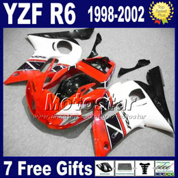 Bodywork set for YAMAHA YZF 600 98 99 00 01 02 white red black fairing kit YZF R6 YZF-R6 1998-2002 fairings YZF600 VB78