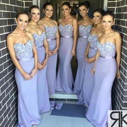 2019 Lavender Strapless Long Bridesmaid Dresses Ruched Ruffles Mermaid Floor Length Long Maid Of Honor Dresses Formal Dress