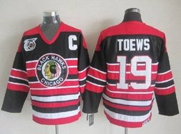 Patch patch bon marché à vendre-Patch de 75 ans Chicago Blackhawks # 19 Jonathan Toews NHL Vintage CCM Throwback Ice Hockey Jerseys Noir Rouge Blanc rayé Cheap China