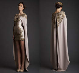2017 Vintage Krikor Jabotian Evening Dresses Sheath Long Separate Cape Embroidery Satin Short Champagne Prom Dresses