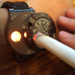 Wholesale New Military USB Charging sports Lighter Watch Men s Casual Quartz Wristwatches with Windproof Flameless Cigarette Cigar Lighter
