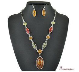 Wholesale Tibet Silver Amber Oval Multicolor Bib Necklace Pendant Earring Sets