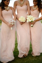 2015 Pink Chiffon Bridesmaid Dresses Floor Length Country Wedding Party Dresses For Bridesmaid with Pleats Sweetheart Bridesmaids Gowns