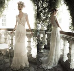 Chiffon Beach Sheer Bohemian Wedding Dresses Custom Lihi Hod V Neck Sheath Lace Corset Plus Size Backless Wedding Gowns Cap Sleeve