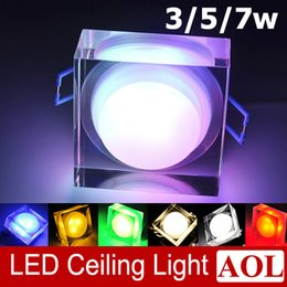 Wholesale Square Colorful High power W W W LED acrylic crystal ceiling lamps AC85 V aisle lights porch lamp wall lamp for House Lighting