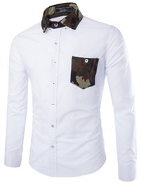 FG1509 2015 New Mens Shirts Brand Design Men Slim Fit White Black Camouflage hit color Shirt Long Sleeve