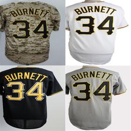 2017 Mens Womens Kids Toddlers Pittsburgh #34 A.J. Burnett White Black Grey Camo Cool Flex Base Baseball Jerseys
