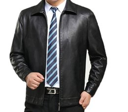 Wholesale Fall Men s Winter Business Service jacket Casual Male SheepSkin Leather Coat Turn down Collar Coats