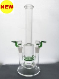 2017 Glass Bong - Double Jointed water pipe 14.5mm joint size both with 14 screen bowl clear honeycomb perc smoking pipe