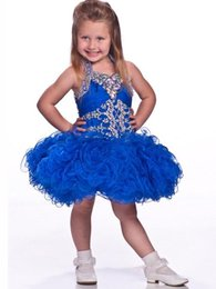 Cupcake Pageant Dresses Girls Purple Ball Gowns Organza Beaded Crystals Short Children 2019 Flower Girl Special Party Dress Free Shipping