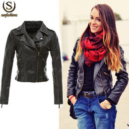Wholesale Short Black Leather Coats Women - 2015 New Fashion Women Brand Jaqueta De Couro Feminina Black Zipper Coat Ladies Slim Crop Motorcycle Faux Soft Pu Leather Jacket