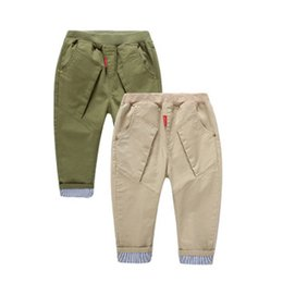 Wholesale Children s clothes Boys striped flanging water XiSha card small straight trousers slacks Y0119 Z1