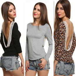 Wholesale New Europe Women s T shirts Lace Sexy Backless Long Sleeve Render Base T Shirt Female Lady s Casual T shirt Colors