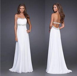 2015 sexy dress white chiffon unbacked strapless long elegant formal evening dress PROM dress party