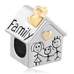 Large Hole Metal Slide Bead Golden Family House Parents Child European Charm Spacer Fit Pandora Bracelet