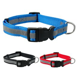 Wholesale 2 cm Width Nylon Cute Night Reflective Printed Dog Puppy Cat Collars Colors Pet Products