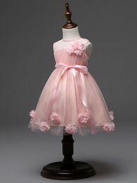 Wholesale Latest design flower girls wedding dress D rose baby girl tutu skirts kids girl s party yarn tulle organza dresses children ball gown
