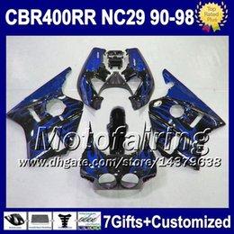 Llamas 7gifts azules para Honda CBR400RR NC29 90-94 1990 1991 1992 1993 1994 F5682 CBR400 RR CBR 400RR 400 90 91 92 93 94 Azul carenado negro desde 91 carenados honda cbr proveedores