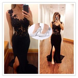 Wholesale Scoop Shoes - Noble Black Lace Formal Evening Dresses+Shoes Sexy See Through Tulle Sheere Scoop Neck Side Split Mermaid Prom Gowns Arabic Party Dresses