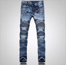 Wholesale Balmain Men Classic Jeans Skinny Jeans Blue Knee Drape Panel Moto Biker Jeans Fashion Style Pants