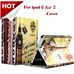 Wholesale Retro Paris England Leather Smart Case For iPad Air iPad with Retina Big Ben London Bridge Eiffel Tower Stand Cover