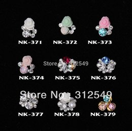 Wholesale-100pcs design Fashion 3D Alloy Crystal Nail art Decoration of 3D alloy 3D nail art studs C119-C120 NK371-408