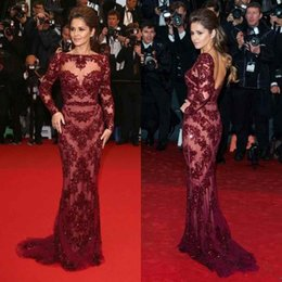 Wholesale See Court Train - 2016 Sexy Cheryl Cole Zuhair Murad in Cannes Red Carpet Dresses Bateau Beading See Through Long Sleeve Formal Pageant Gowns Evening Dresses