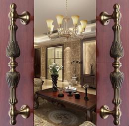 Wholesale 435mm vintage big gate door handles bronze glass door handles antique brass wood door pulls Europe style door handles fittings